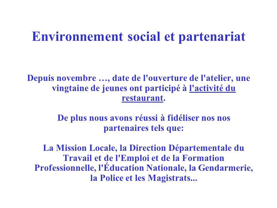 Environnement social et partenariat Depuis novembre …, date de l'ouverture de l'atelier, une vingtaine de jeunes ont participé à l'activité du restaur