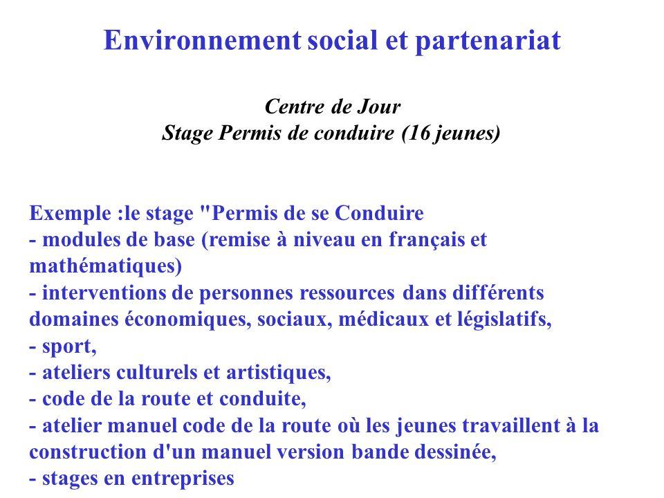 Environnement social et partenariat Centre de Jour Stage Permis de conduire (16 jeunes) Exemple :le stage