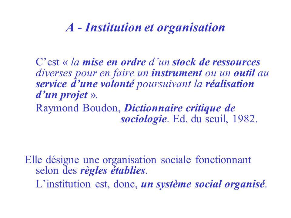 A - Institution et organisation Cest « la mise en ordre dun stock de ressources diverses pour en faire un instrument ou un outil au service dune volon