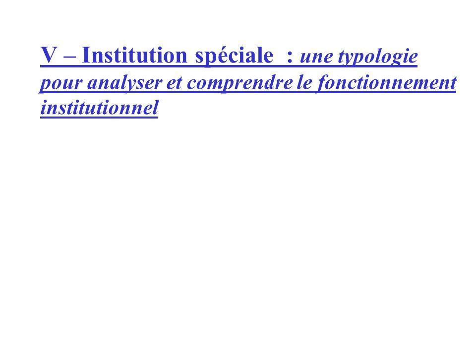 V – Institution spéciale : une typologie pour analyser et comprendre le fonctionnement institutionnel