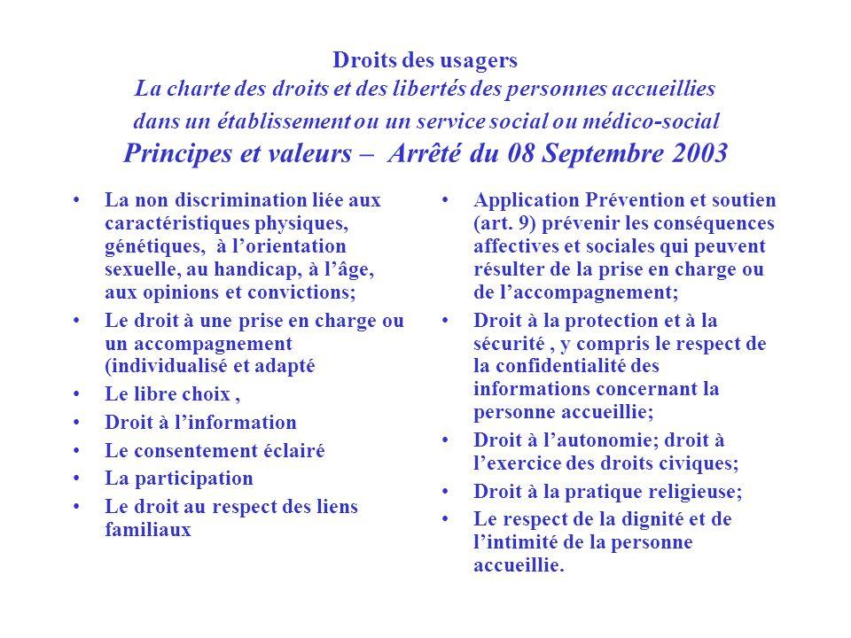 Droits des usagers La charte des droits et des libertés des personnes accueillies dans un établissement ou un service social ou médico-social Principe