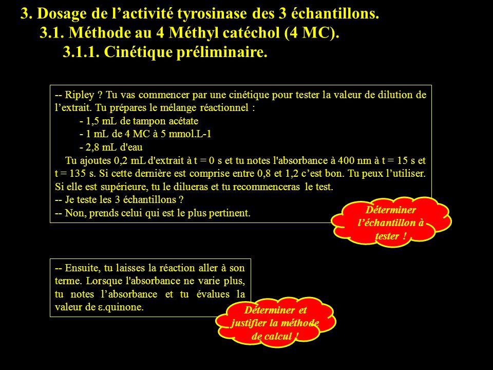 3. Dosage de lactivité tyrosinase des 3 échantillons. 3.1. Méthode au 4 Méthyl catéchol (4 MC). -- Ripley ? Tu vas commencer par une cinétique pour te
