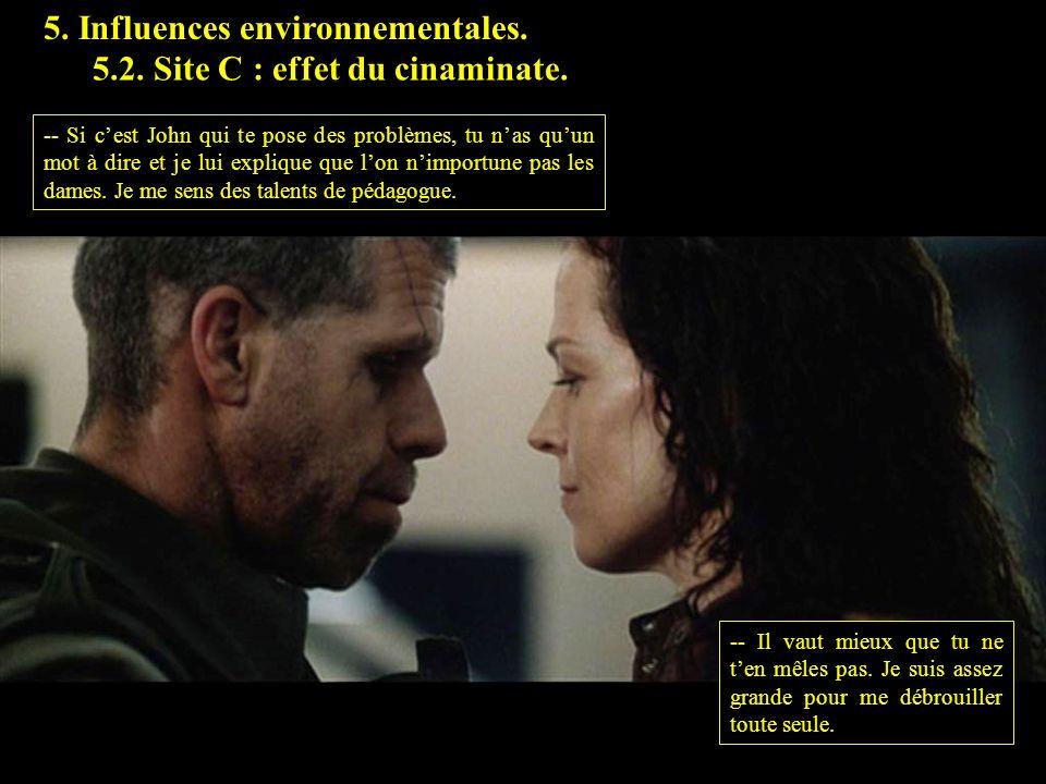 5. Influences environnementales. 5.2. Site C : effet du cinaminate. -- Si cest John qui te pose des problèmes, tu nas quun mot à dire et je lui expliq