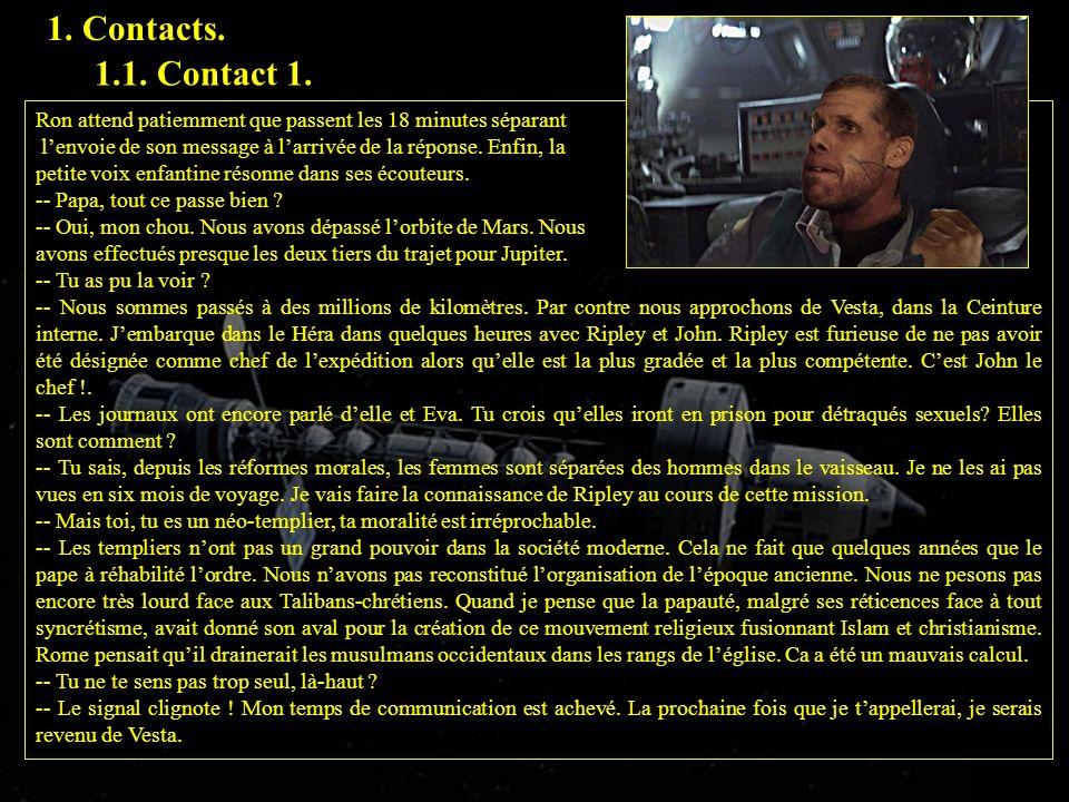 1.Contacts. 1.1. Contact 1. 1.2. Contact 2. Ripley a les yeux rivés sur lécran de contrôle.