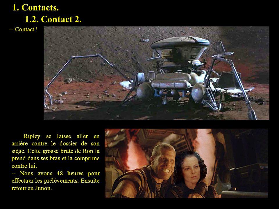 1. Contacts. -- Contact ! Ripley se laisse aller en arrière contre le dossier de son siège. Cette grosse brute de Ron la prend dans ses bras et la com