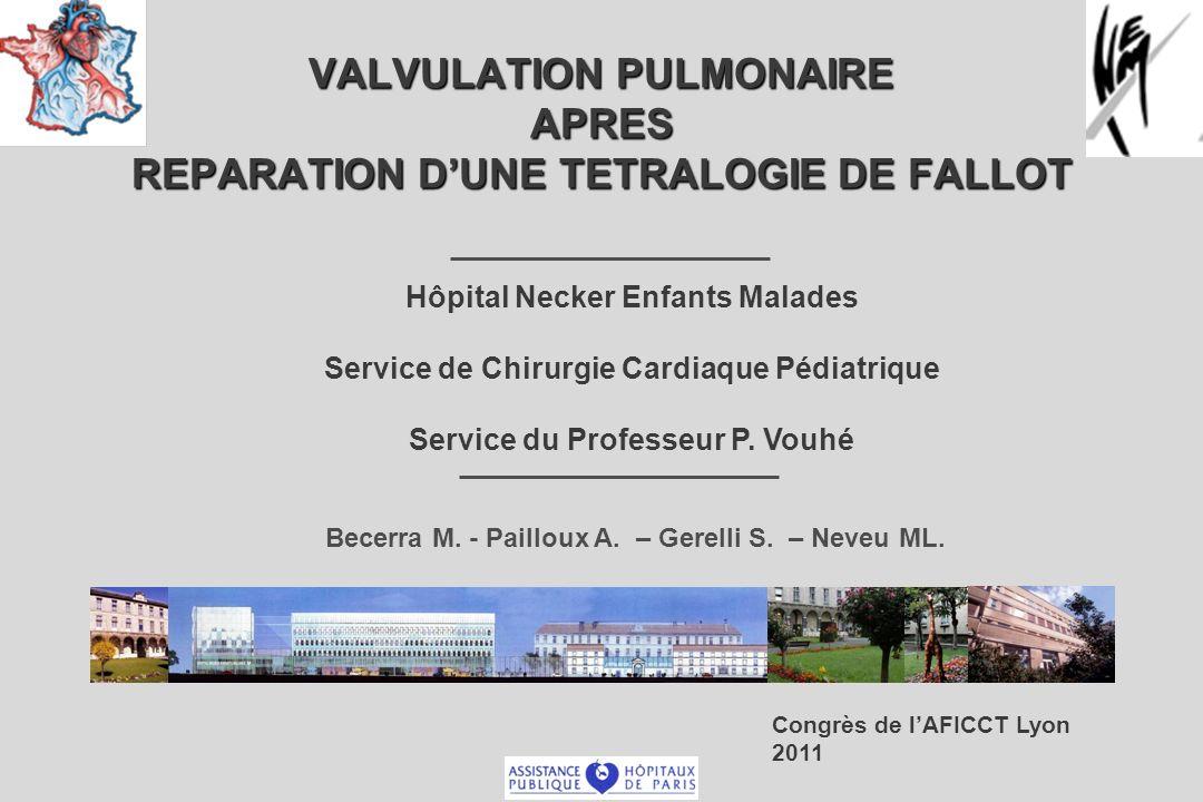 VALVULATION PULMONAIRE APRES REPARATION DUNE TETRALOGIE DE FALLOT Hôpital Necker Enfants Malades Service de Chirurgie Cardiaque Pédiatrique Service du Professeur P.