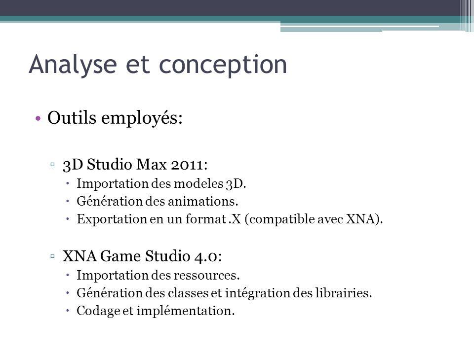 Analyse et conception Outils employés: 3D Studio Max 2011: Importation des modeles 3D.