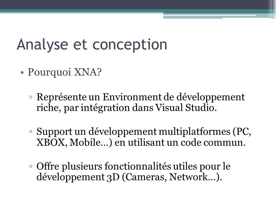 Analyse et conception Pourquoi XNA.