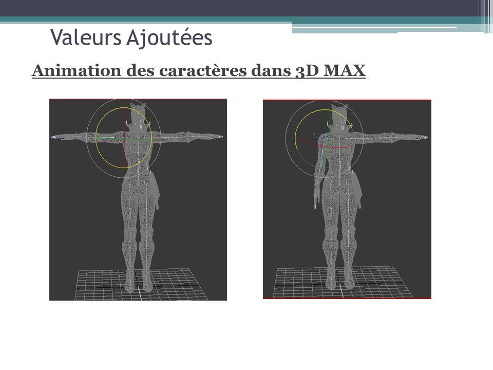 Valeurs Ajoutées Animation des caractères dans 3D MAX