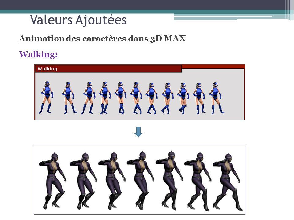 Valeurs Ajoutées Animation des caractères dans 3D MAX Walking: