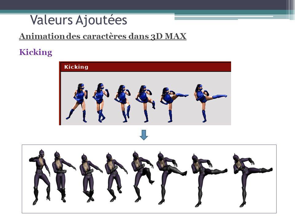 Valeurs Ajoutées Animation des caractères dans 3D MAX Kicking