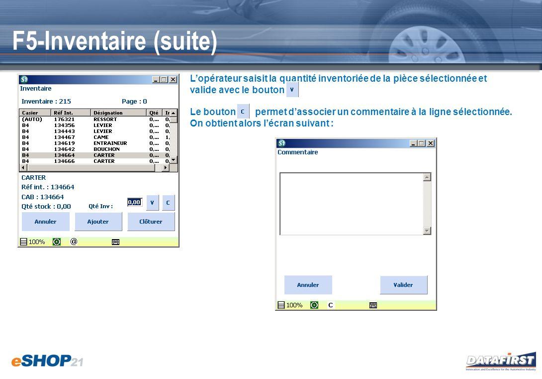F5-Inventaire (suite) Lopérateur saisit la quantité inventoriée de la pièce sélectionnée et valide avec le bouton Le bouton permet dassocier un commen
