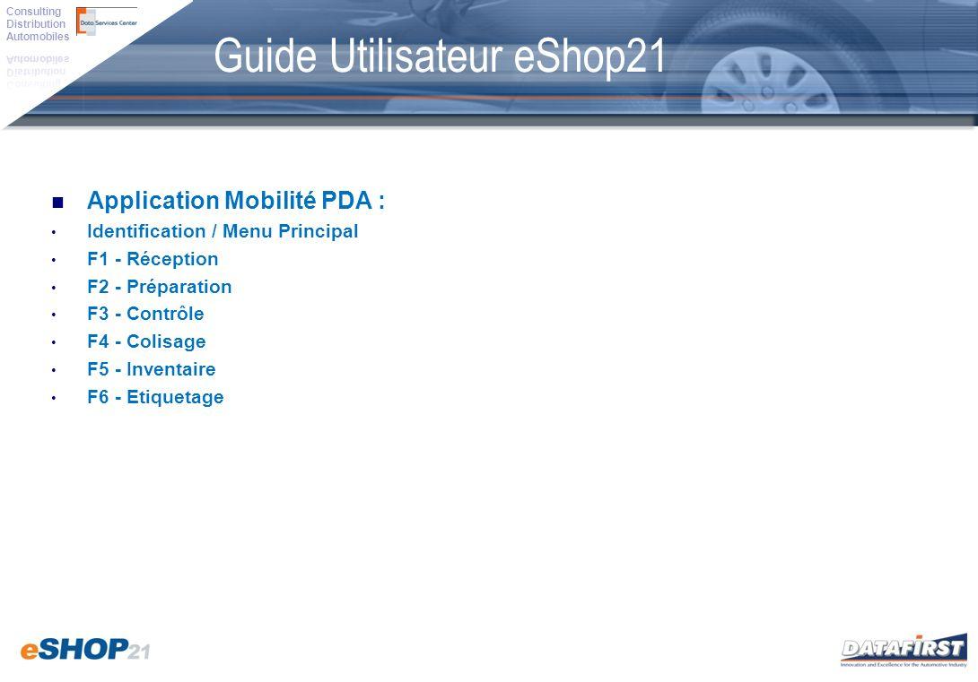 Application Mobilité PDA : Identification / Menu Principal F1 - Réception F2 - Préparation F3 - Contrôle F4 - Colisage F5 - Inventaire F6 - Etiquetage