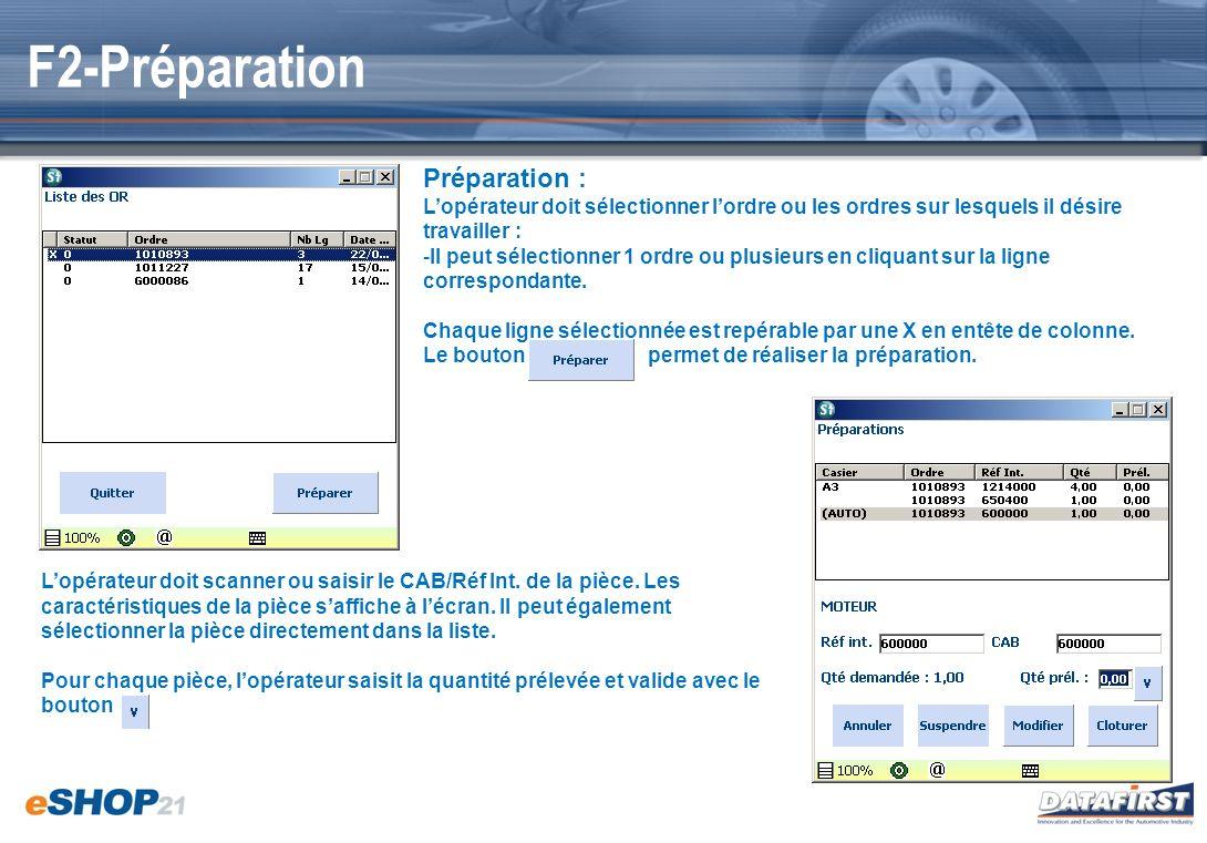 F2-Préparation Préparation : Lopérateur doit sélectionner lordre ou les ordres sur lesquels il désire travailler : -Il peut sélectionner 1 ordre ou pl