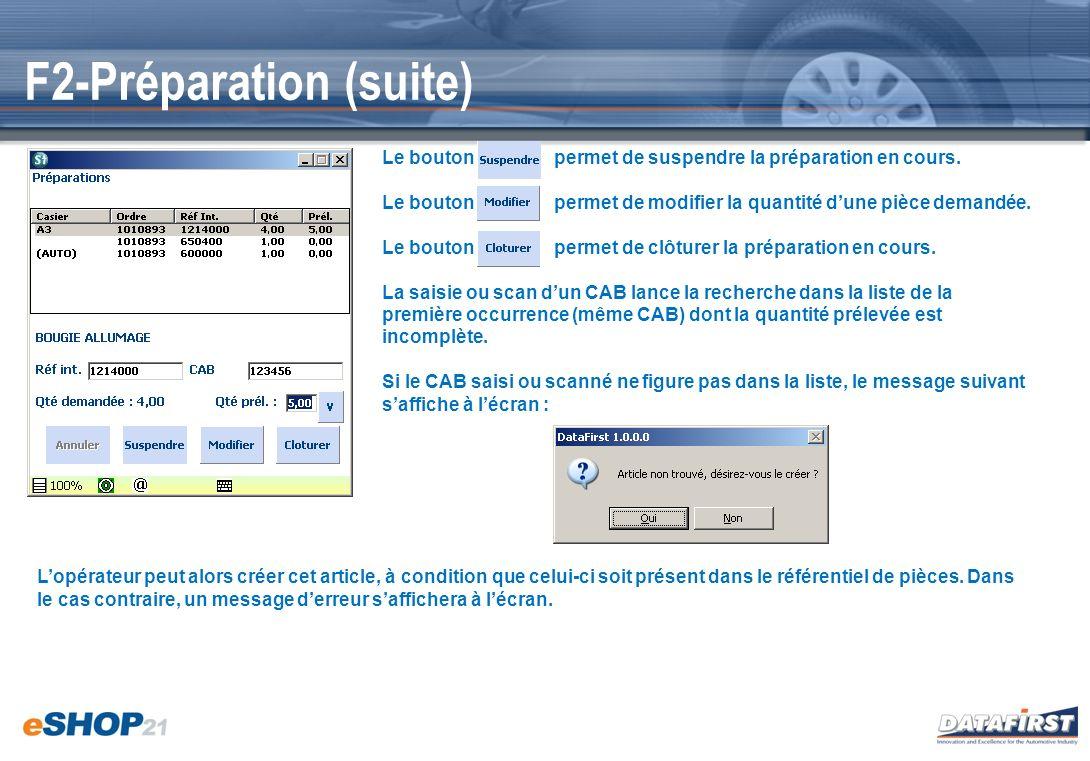 F3-Contrôle Contrôle : La liste des préparations à contrôler est affichée à lécran.