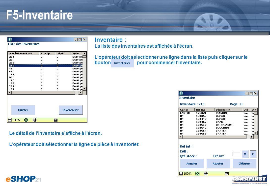 F5-Inventaire Inventaire : La liste des inventaires est affichée à lécran. Lopérateur doit sélectionner une ligne dans la liste puis cliquer sur le bo