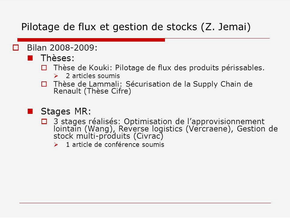 Pilotage de flux et gestion de stocks (Z. Jemai) Bilan 2008-2009: Thèses: Thèse de Kouki: Pilotage de flux des produits périssables. 2 articles soumis