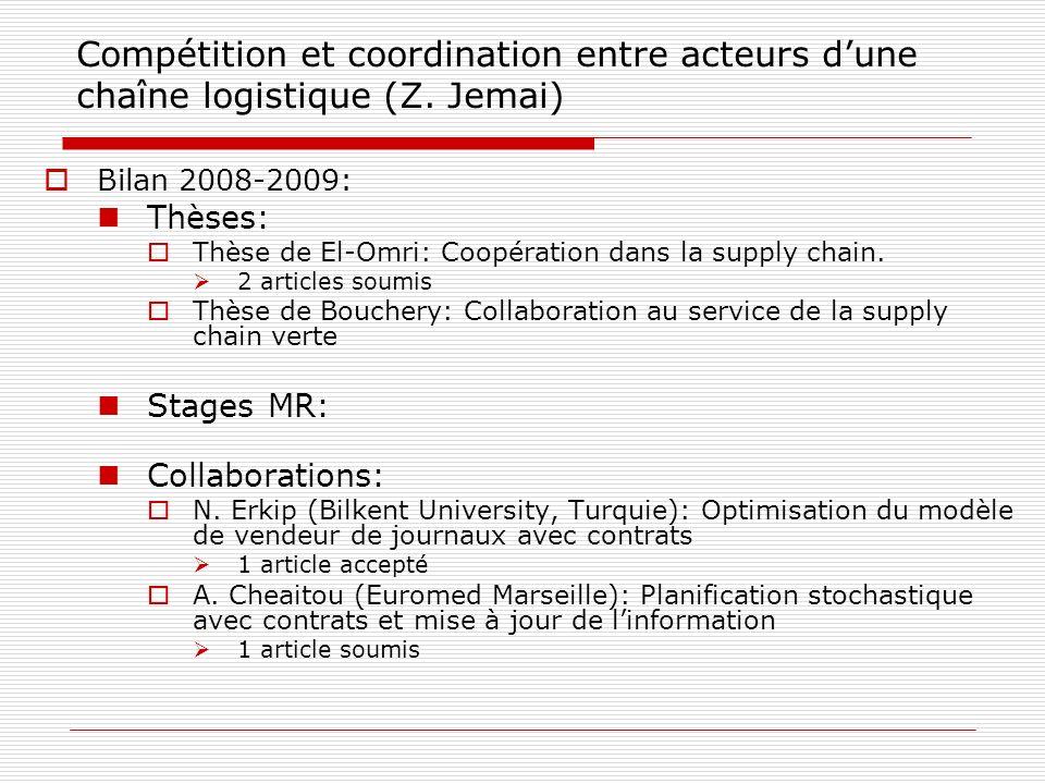 Compétition et coordination entre acteurs dune chaîne logistique (Z. Jemai) Bilan 2008-2009: Thèses: Thèse de El-Omri: Coopération dans la supply chai
