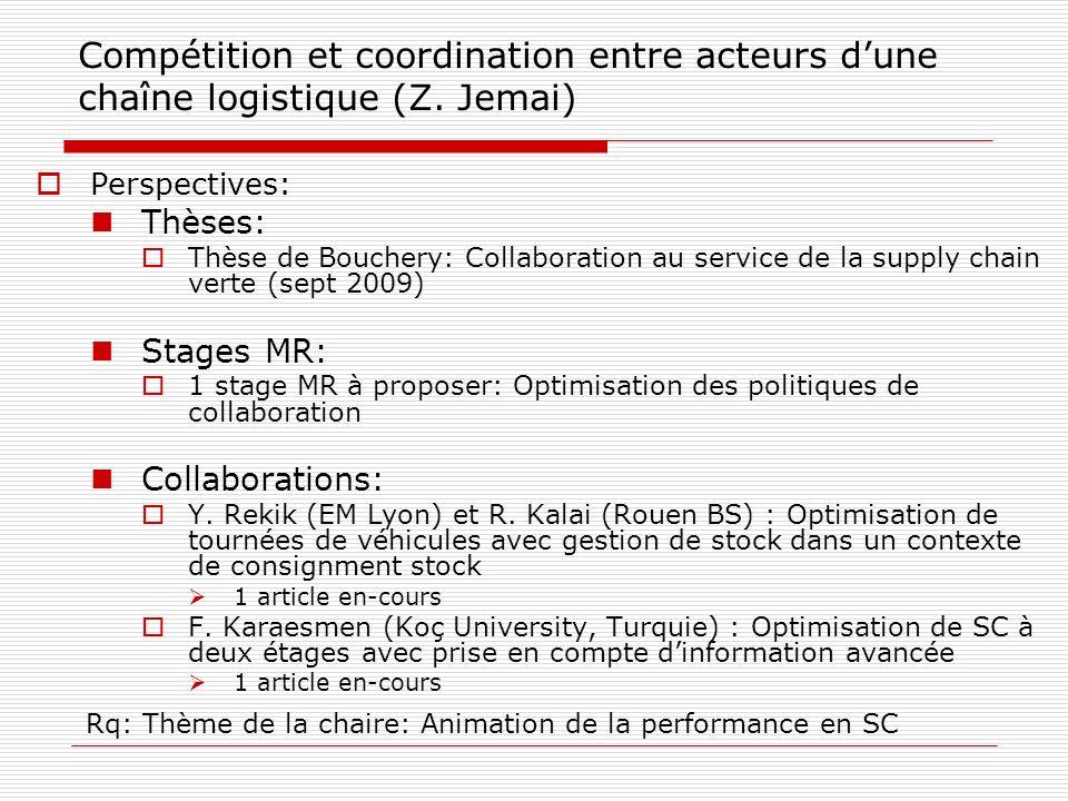 Compétition et coordination entre acteurs dune chaîne logistique (Z. Jemai) Perspectives: Thèses: Thèse de Bouchery: Collaboration au service de la su