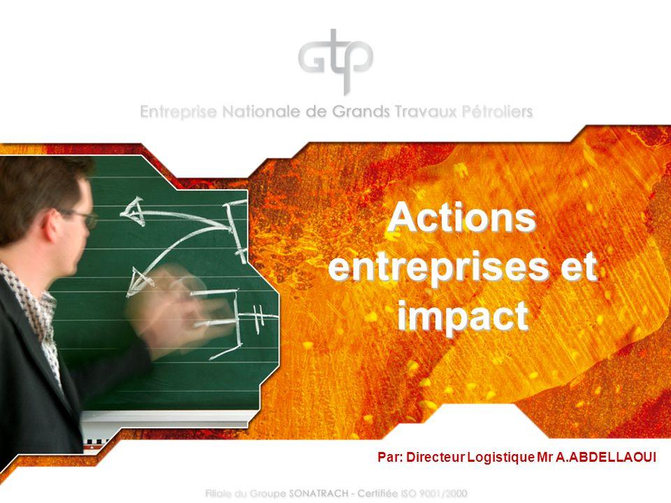 Actions entreprises et impact Par: Directeur Logistique Mr A.ABDELLAOUI