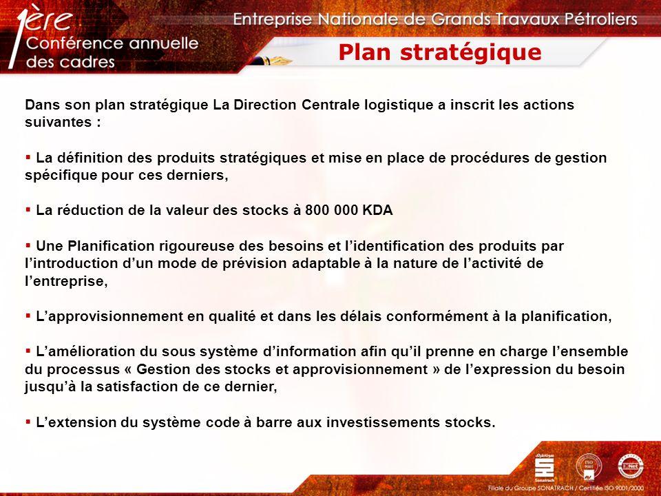 Plan stratégique Dans son plan stratégique La Direction Centrale logistique a inscrit les actions suivantes : La définition des produits stratégiques