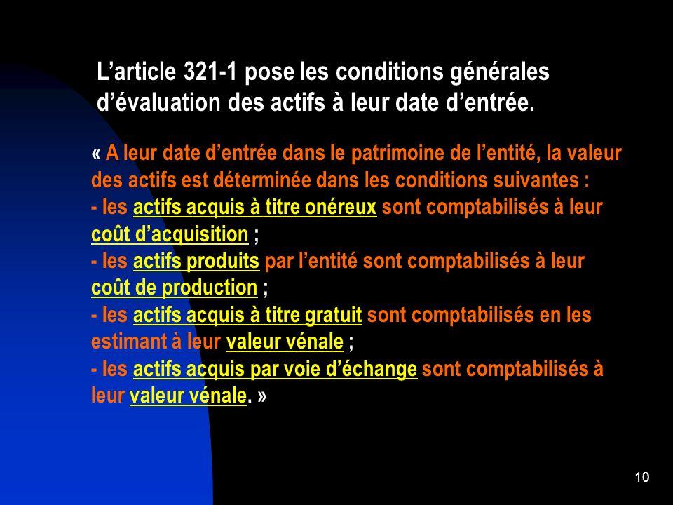 11 321-10 Éléments du coût dacquisition initial : 1.