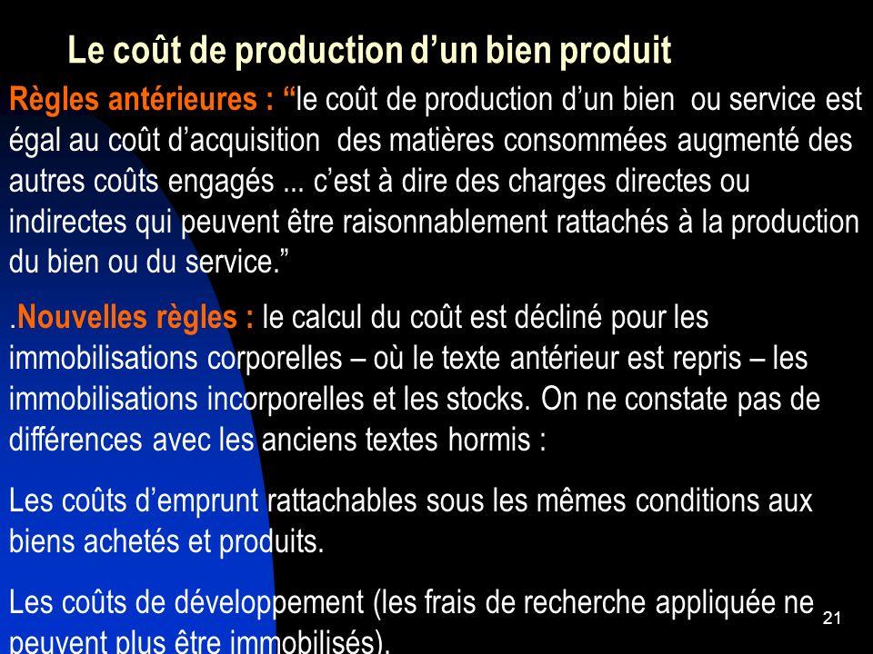 22 La période dincorporation des coûts Règle comptable ancienne : Aucune indication relative à la période d activation des coûts.