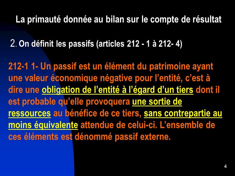 4 La primauté donnée au bilan sur le compte de résultat 212-1 1- Un passif est un élément du patrimoine ayant une valeur économique négative pour lent