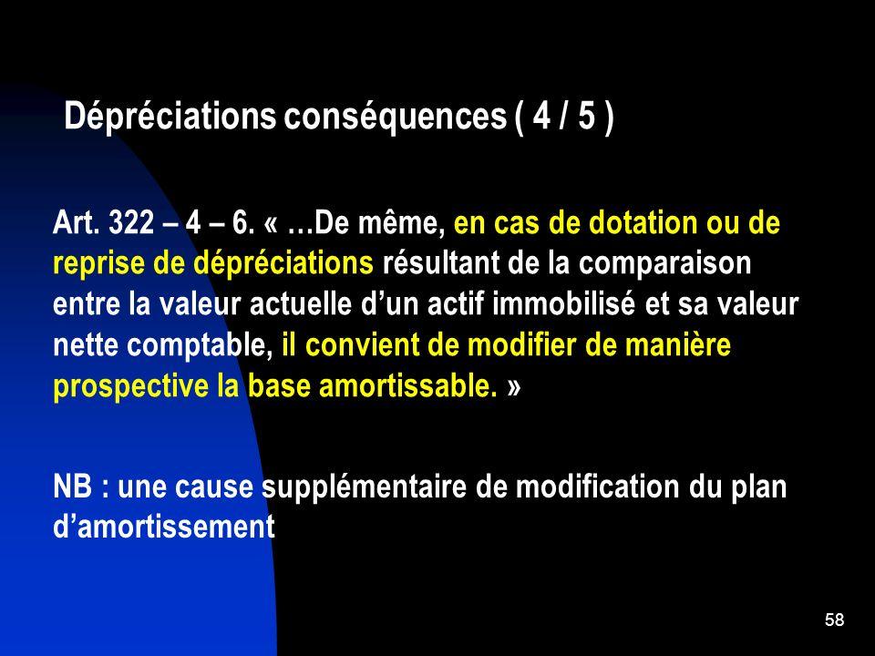 59 Dépréciations (5/5)Incidence sur le plan damortissement Les dotations et reprises de dépréciations entraînent la révision prospective du plan damortissement.