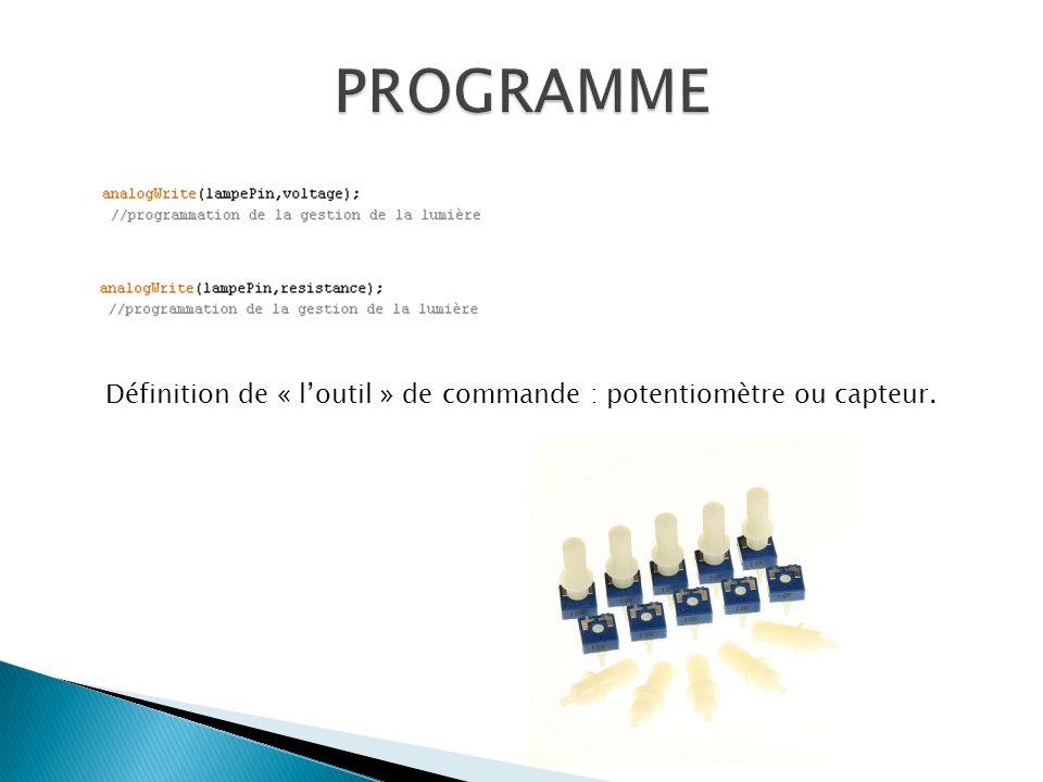 Définition de « loutil » de commande : potentiomètre ou capteur.