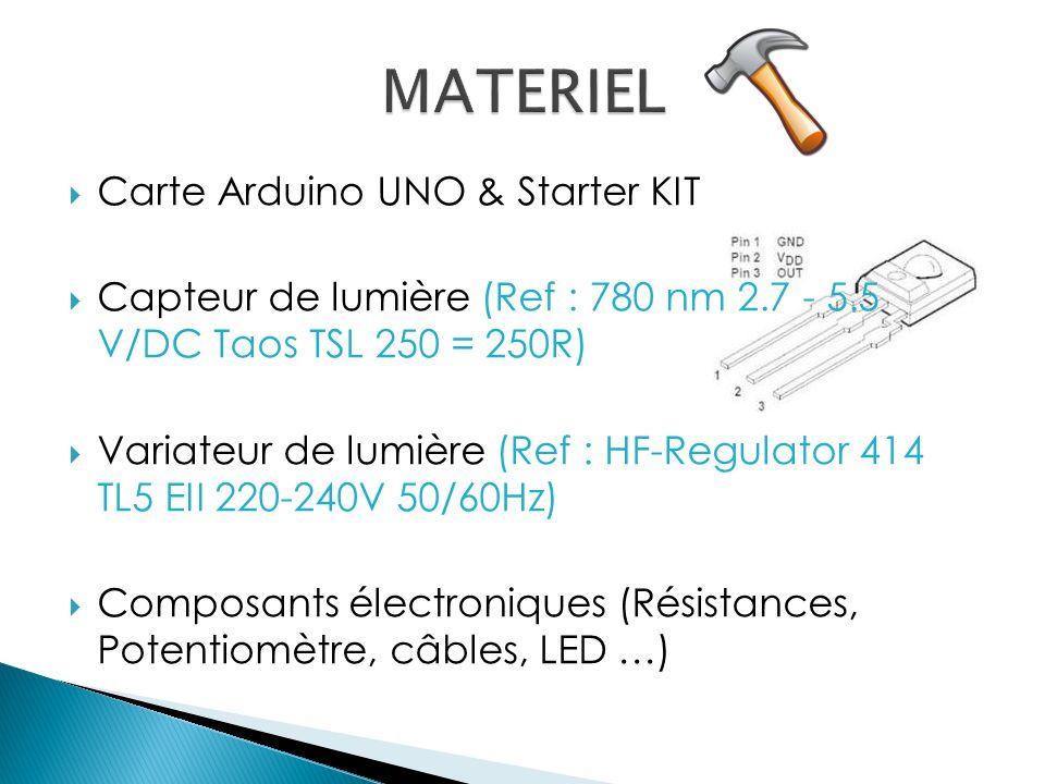 Carte Arduino UNO & Starter KIT Capteur de lumière (Ref : 780 nm 2.7 - 5.5 V/DC Taos TSL 250 = 250R) Variateur de lumière (Ref : HF-Regulator 414 TL5