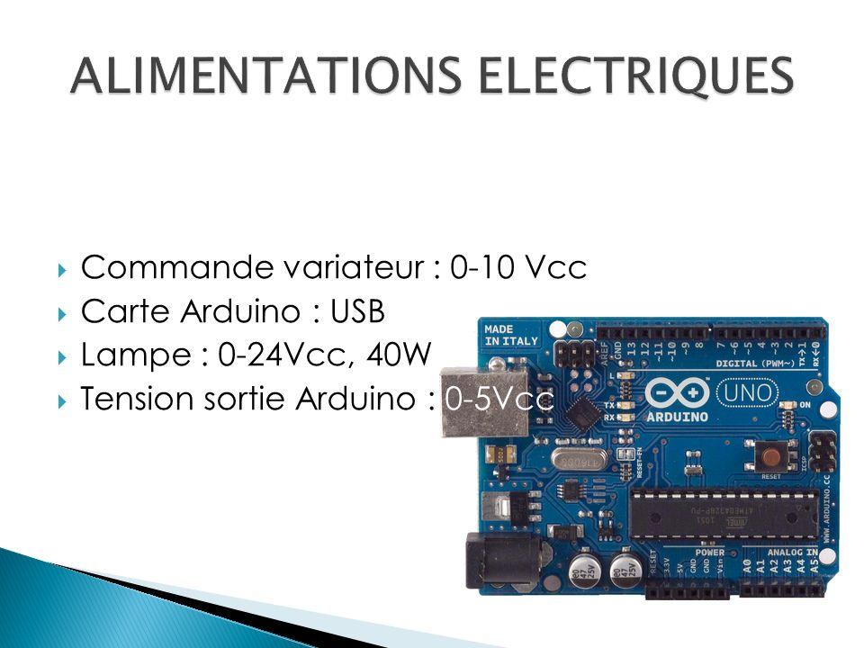Commande variateur : 0-10 Vcc Carte Arduino : USB Lampe : 0-24Vcc, 40W Tension sortie Arduino : 0-5Vcc