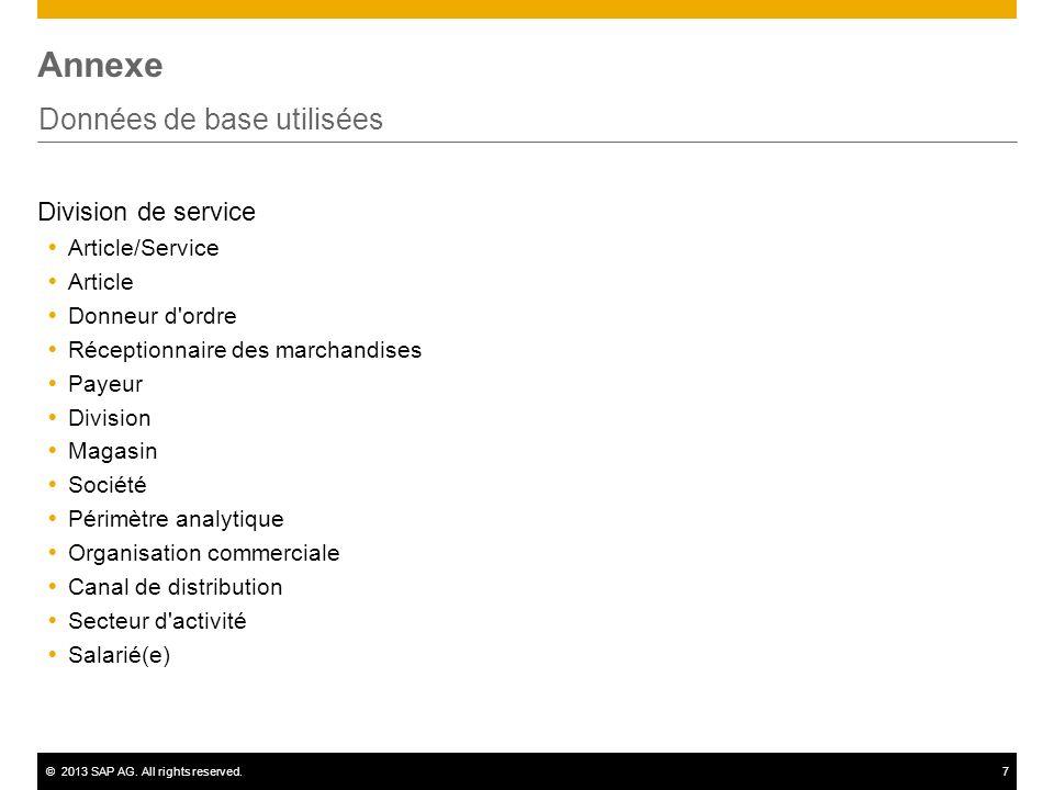 ©2013 SAP AG. All rights reserved.7 Annexe Données de base utilisées Division de service Article/Service Article Donneur d'ordre Réceptionnaire des ma