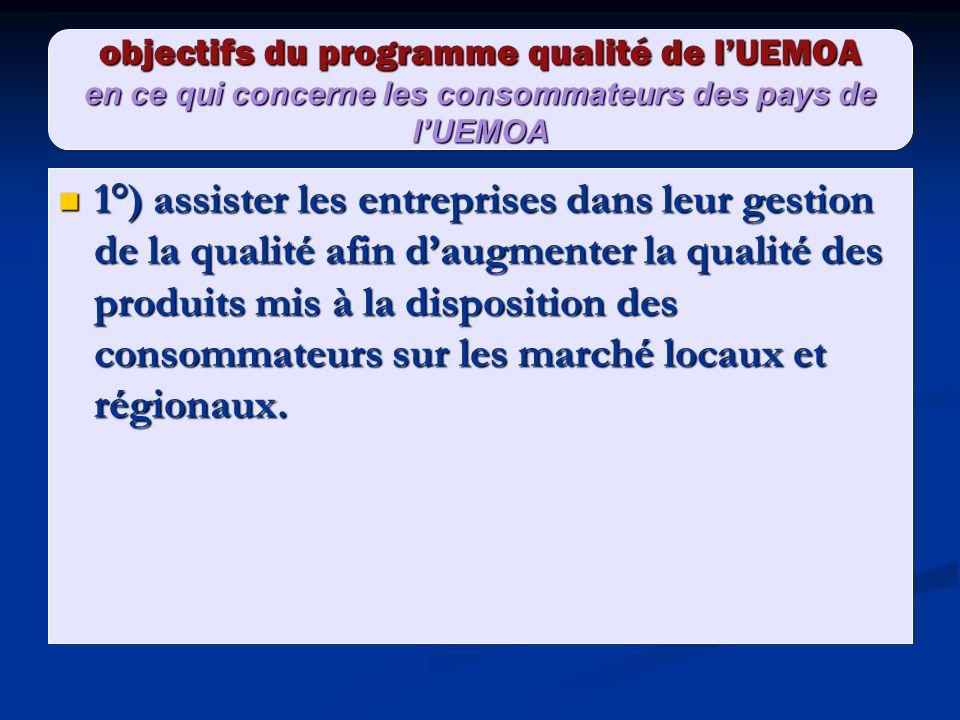 objectifs du programme qualité de lUEMOA en ce qui concerne les consommateurs des pays de lUEMOA 1°) assister les entreprises dans leur gestion de la