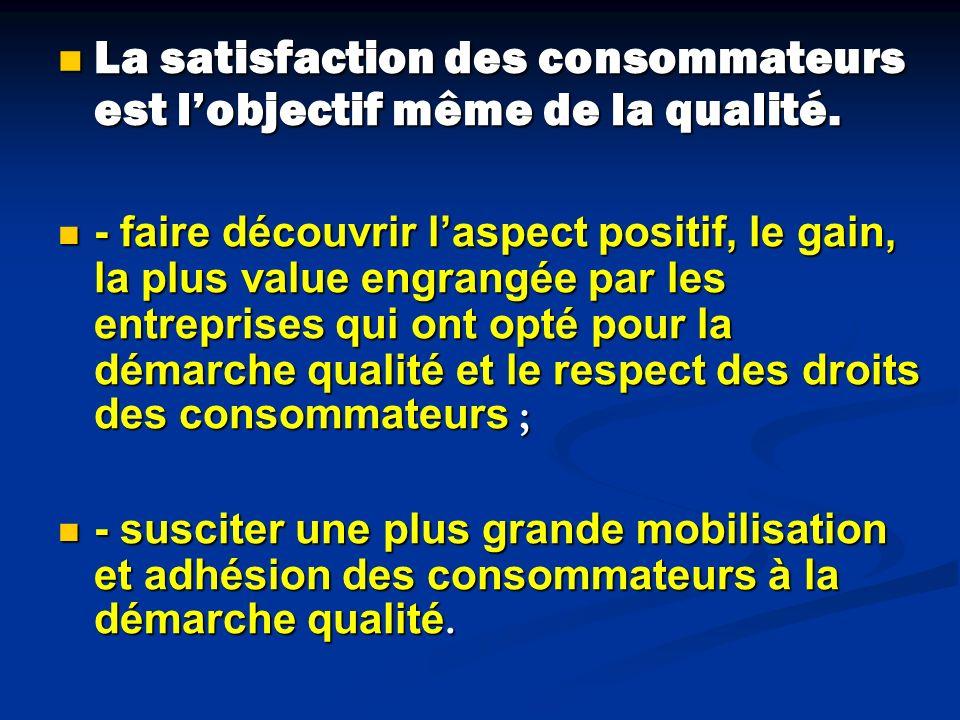 La satisfaction des consommateurs est lobjectif même de la qualité. La satisfaction des consommateurs est lobjectif même de la qualité. - faire découv