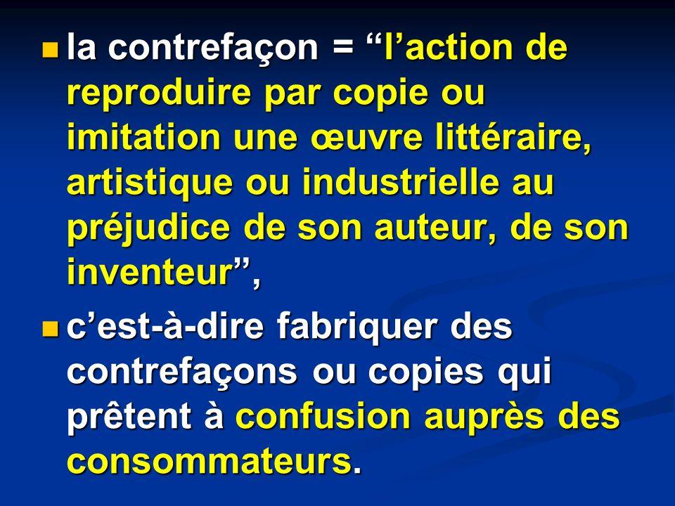 la contrefaçon = laction de reproduire par copie ou imitation une œuvre littéraire, artistique ou industrielle au préjudice de son auteur, de son inve