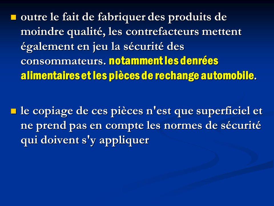 outre le fait de fabriquer des produits de moindre qualité, les contrefacteurs mettent également en jeu la sécurité des consommateurs. notamment les d