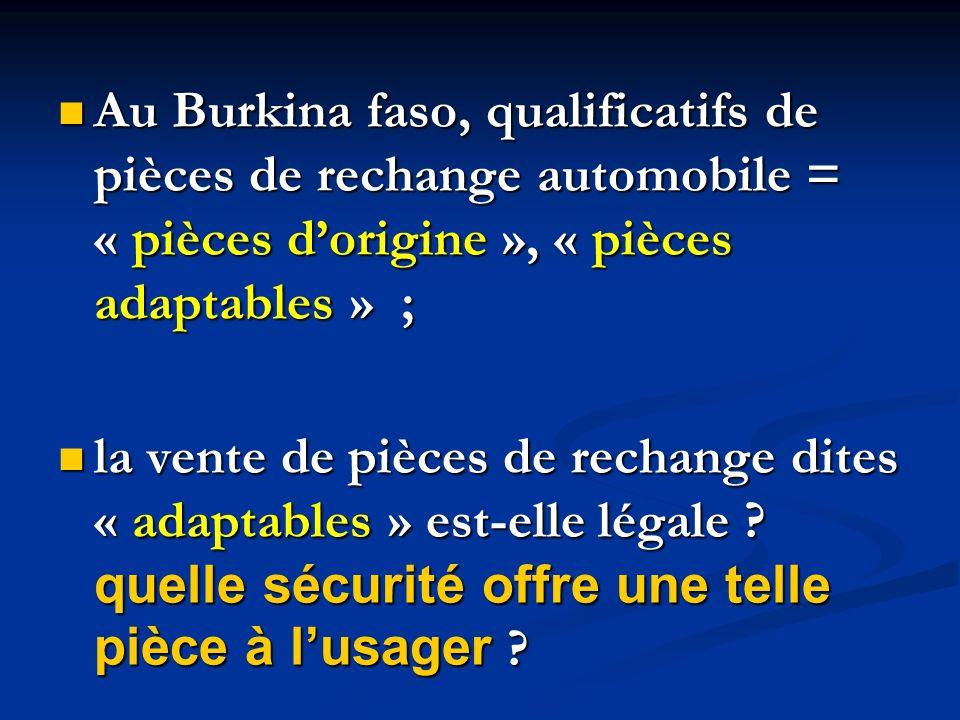 Au Burkina faso, qualificatifs de pièces de rechange automobile = « pièces dorigine », « pièces adaptables » ; Au Burkina faso, qualificatifs de pièce
