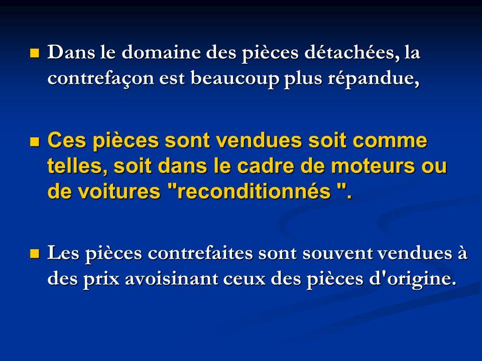 Dans le domaine des pièces détachées, la contrefaçon est beaucoup plus répandue, Dans le domaine des pièces détachées, la contrefaçon est beaucoup plu
