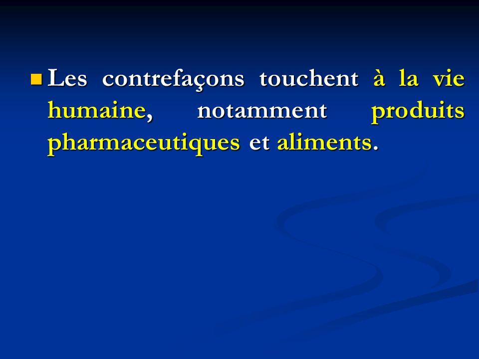 Les contrefaçons touchent à la vie humaine, notamment produits pharmaceutiques et aliments. Les contrefaçons touchent à la vie humaine, notamment prod