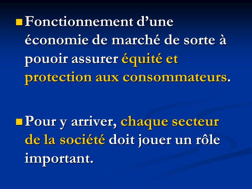 Fonctionnement dune économie de marché de sorte à pouoir assurer équité et protection aux consommateurs. Fonctionnement dune économie de marché de sor