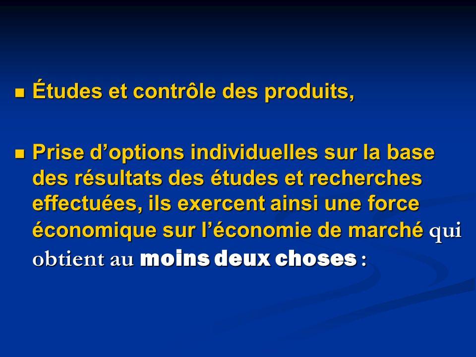 Études et contrôle des produits, Études et contrôle des produits, Prise doptions individuelles sur la base des résultats des études et recherches effe
