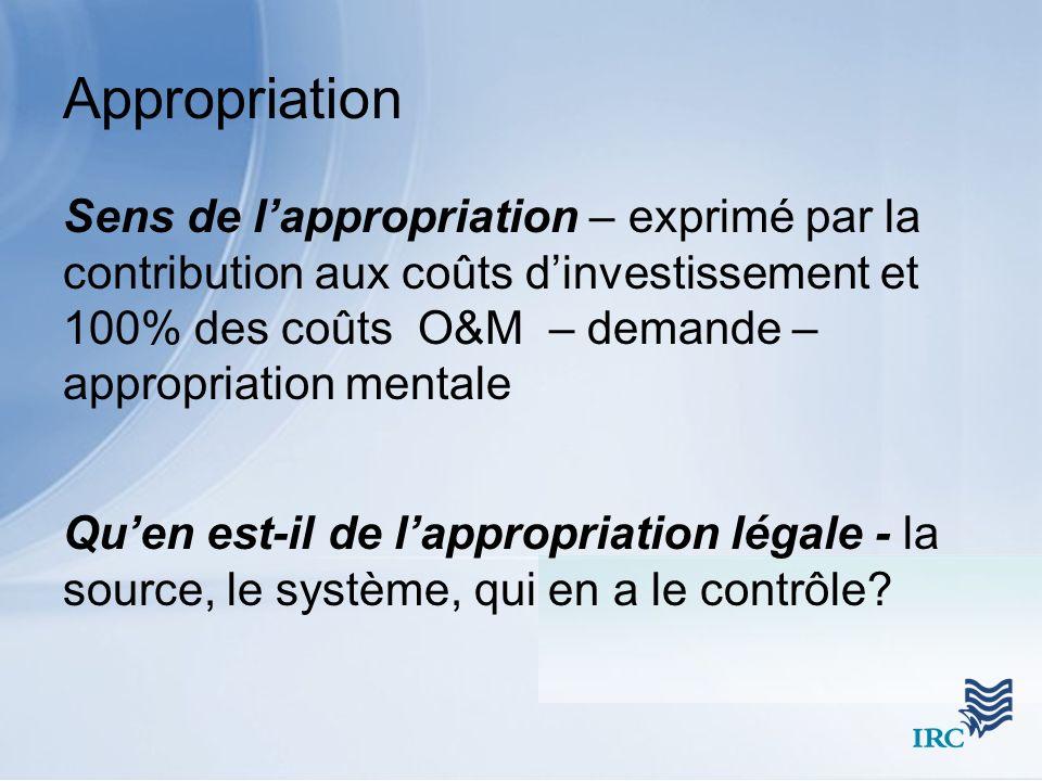 Appropriation Sens de lappropriation – exprimé par la contribution aux coûts dinvestissement et 100% des coûts O&M – demande – appropriation mentale Quen est-il de lappropriation légale - la source, le système, qui en a le contrôle