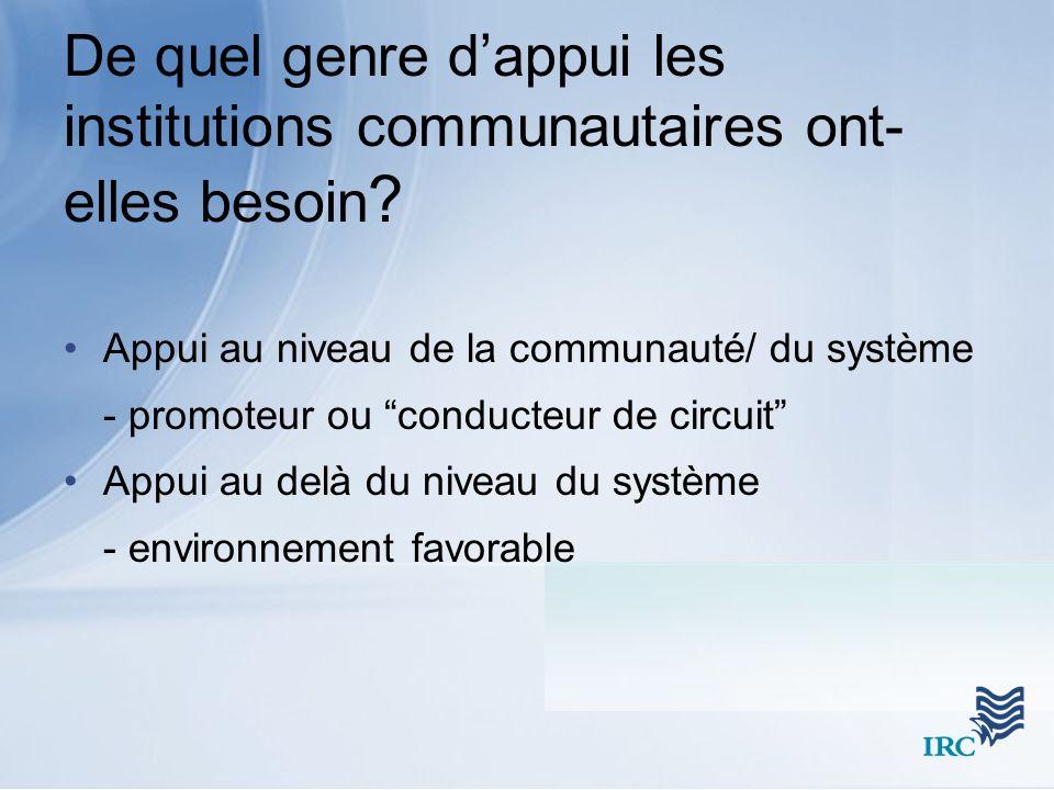 Appui au niveau de la communauté/ du système - promoteur ou conducteur de circuit Appui au delà du niveau du système - environnement favorable