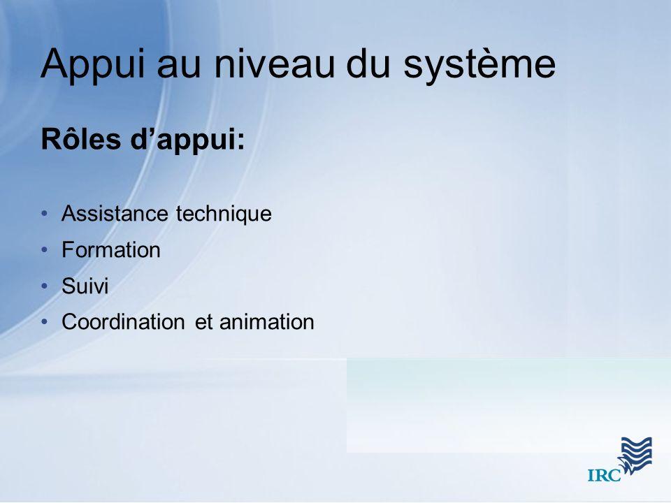 Rôles dappui: Assistance technique Formation Suivi Coordination et animation Appui au niveau du système