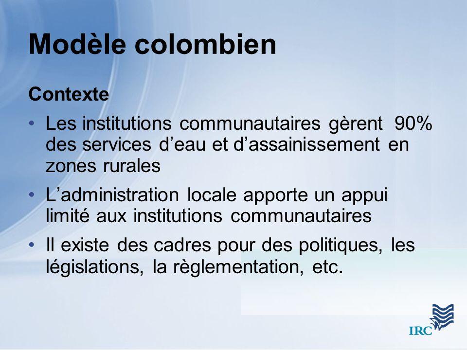 Modèle colombien Contexte Les institutions communautaires gèrent 90% des services deau et dassainissement en zones rurales Ladministration locale apporte un appui limité aux institutions communautaires Il existe des cadres pour des politiques, les législations, la règlementation, etc.