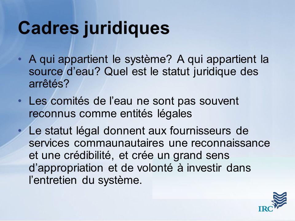 Cadres juridiques A qui appartient le système. A qui appartient la source deau.