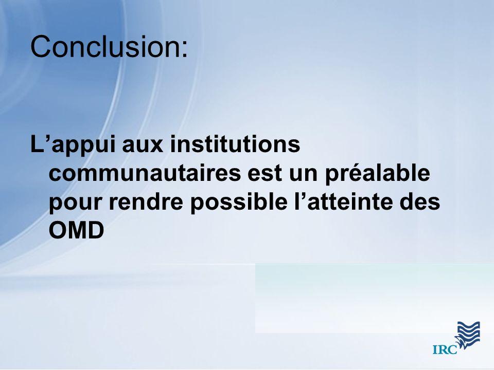Conclusion: Lappui aux institutions communautaires est un préalable pour rendre possible latteinte des OMD