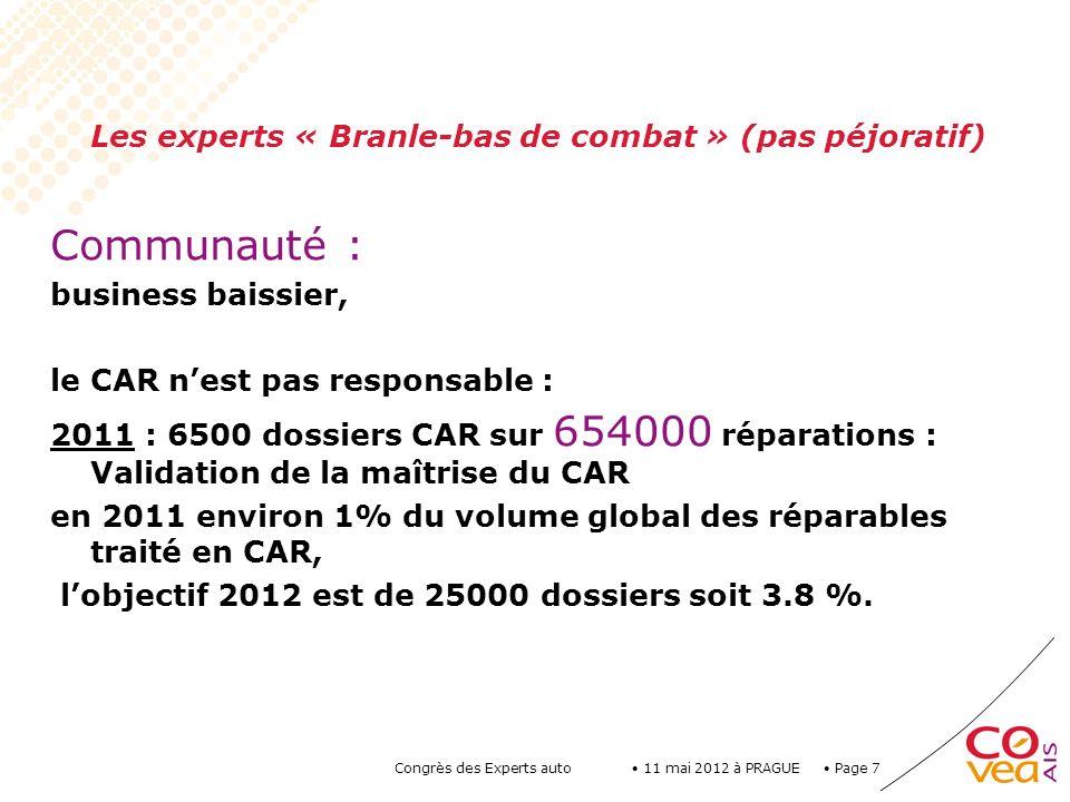 Page 8 11 mai 2012 à PRAGUE Congrès des Experts auto Volume moyen COVEA par cabinet : En 2007 : en moy.
