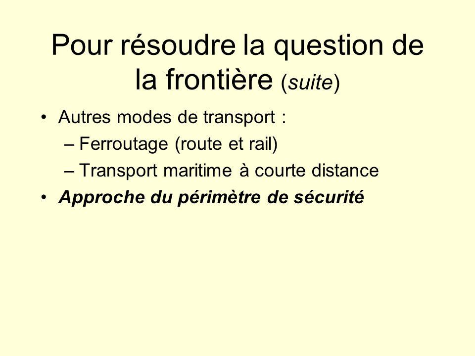 Pour résoudre la question de la frontière (suite) Autres modes de transport : –Ferroutage (route et rail) –Transport maritime à courte distance Approche du périmètre de sécurité